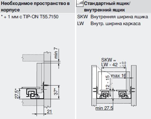 Направляющие для выдвижных ящиков blum схема установки